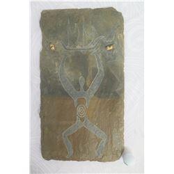 """Slate Roof Shingle from Kawaihao Church 1927 to1992 - Artist Embellished Petroglyph Figure 22""""x12.5"""""""