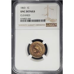 1863 1C Indian Head Penny Cent NGC Uncirculated