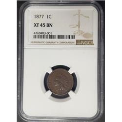 1877 1C Indian Head Penny Cent NGC XF45 BN