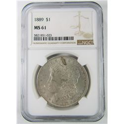 1889 NGC MS61 MORGAN SILVER DOLLAR