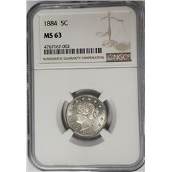 1884 5C Victory Nickel NGC MS63
