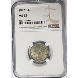 1897 5C Victroy Nickel NGC MS62