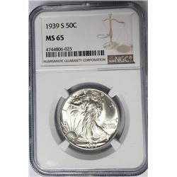 1939 S 50C Walking Liberty Half Dollar NGC MS65