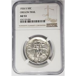 1926 S Oregon Trail Commem Half Dollar NGC AU53