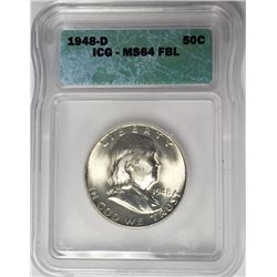 1948-D Franklin Half Dollar ICG MS64 FBL 50C