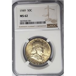 1949 50C Franklin Half Dollar NGC MS62