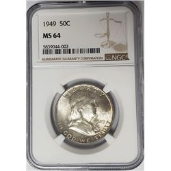 1949 50C Franklin Half Dollar NGC MS64