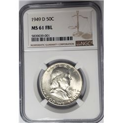 1949-D 50C Franklin Half Dollar NGC MS61 FBL