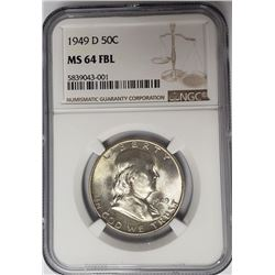 1949-D 50C Franklin Half Dollar NGC MS64 FBL