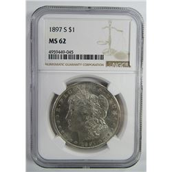 1897-S Morgan Silver Dollar $ NGC MS 62