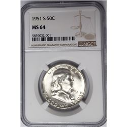 1951-S 50C Franklin Half Dollar NGC MS64