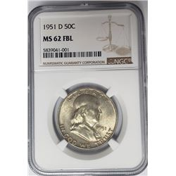 1951-D 50C Franklin Half Dollar NGC MS62 FBL