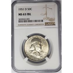 1951-D 50C Franklin Half Dollar NGC MS63 FBL