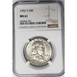 1952-S 50C Franklin Half Dollar NGC MS61