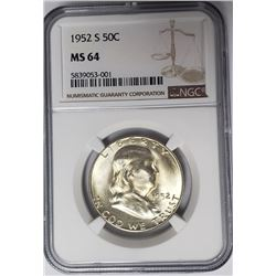 1952-S 50C Franklin Half Dollar NGC MS64