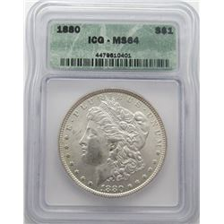 1880-P Morgan Silver Dollar ICG MS 64