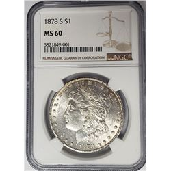 1878-S $1 Morgan Silver Dollar NGC MS60