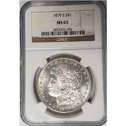 1879-S Morgan Silver Dollar $1 NGC MS63