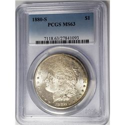 1880-S Morgan Silver Dollar $1 PCGS MS63