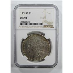 1902-O Morgan Silver Dollar $ NGC MS 63 Nicely Ton