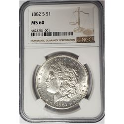 1882-S Morgan Silver Dollar $1 NGC MS60