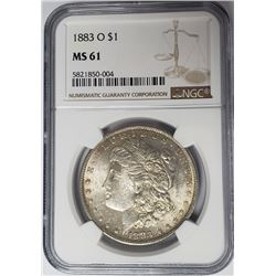 1883-O $1 Morgan Silver Dollar NGC MS61