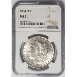 1884-O $1 Morgan Silver Dollar NGC MS61