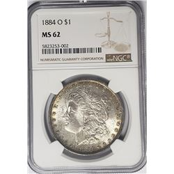 1884-O Morgan Silver Dollar $1 NGC MS62