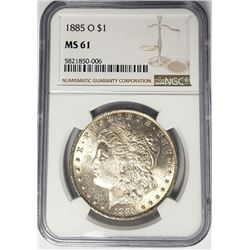 1885-O $1 Morgan Silver Dollar NGC MS61
