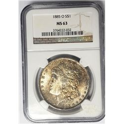 1885-O Morgan Silver Dollar $1 NGC MS63