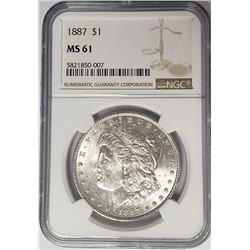 1887-P $1 Morgan Silver Dollar NGC MS61