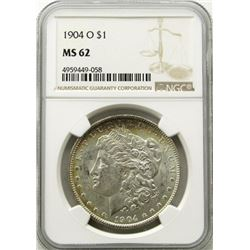 1904-O Morgan Silver Dollar $ NGC MS 62