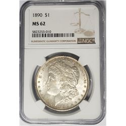 1890-P $1 Morgan Silver Dollar NGC MS62