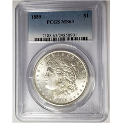 1889 Morgan Silver Dollar $1 PCGS MS63
