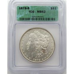 1878-S Morgan Silver Dollar ICG MS 62