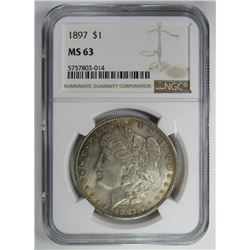 1897 MORGAN SILVER DOLLAR NGC MS63