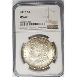 1889-P $1 Morgan Silver Dollar NGC MS62