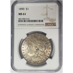 1890-P $1 Morgan Silver Dollar NGC MS61