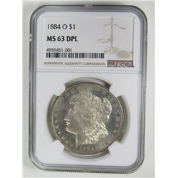1884-O MORGAN DOLLAR NGC MS63 DPL
