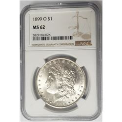 1899-O Morgan Silver Dollar $1 NGC MS62