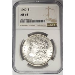 1900 Morgan Silver Dollar $1 NGC MS62