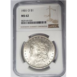 1901-O Morgan Silver Dollar $1 NGC MS62