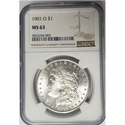 1901-O Morgan Silver Dollar $1 NGC MS63