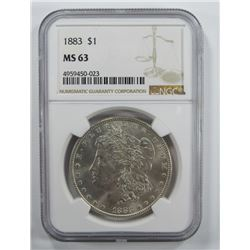 1883-P Morgan Silver Dollar $ NGC MS 63