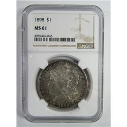 1898-P Morgan Silver Dollar $ NGC MS 61 Nicely Ton