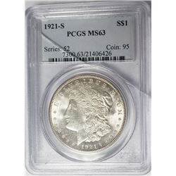 1921-S Morgan Silver Dollar PCGS MS63