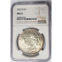 1923-D $1 Peace Silver Dollar NGC MS61