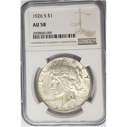 1926-S $1 Peace Silver Dollar NGC AU58