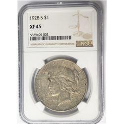 1928-S $1 Peace Silver Dollar NGC XF45
