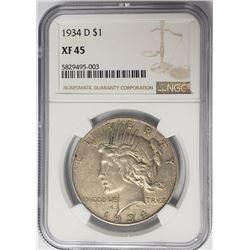 1934-D $1 Peace Silver Dollar NGC XF45
